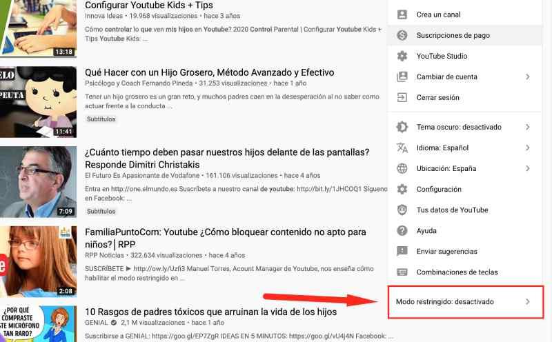 activar control parental para YouTube