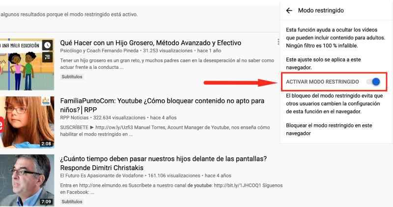 control parental Youtube, Modo restringido: desactivado