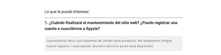 el servicio spyzie no funciona