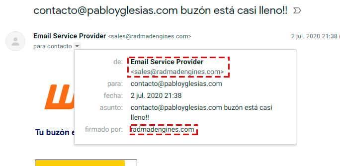 campaña de phishing de un email