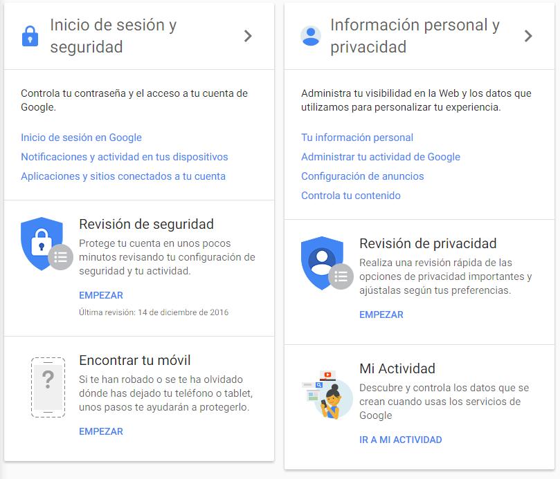 segurizar nuestra cuenta de Google