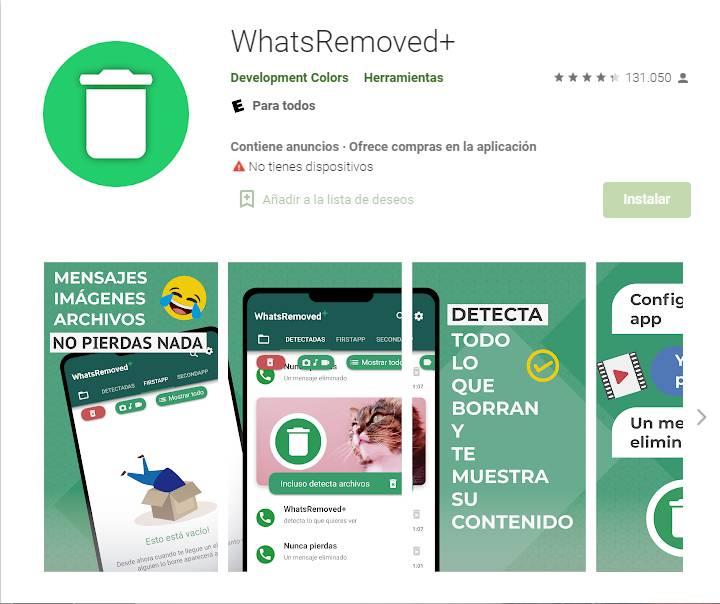 WhatsRemoved ver mensajes eliminados