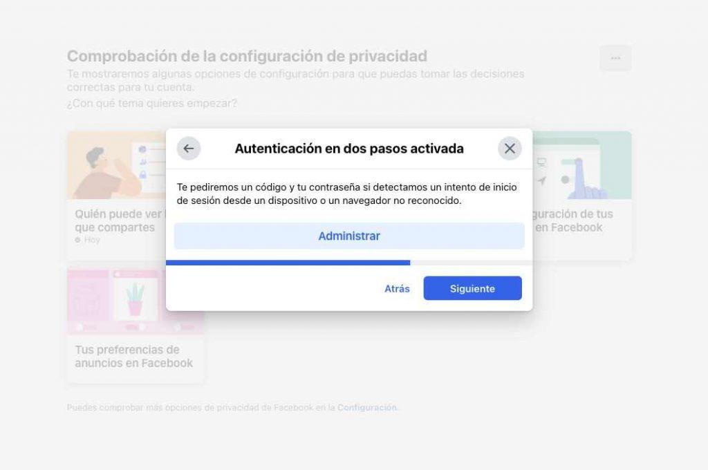 autenticacion en dos pasos Facebook