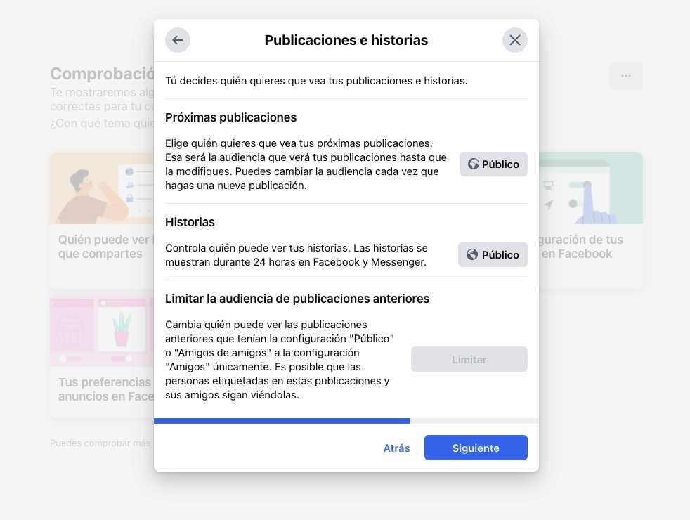 Publicaciones e historias Facebook