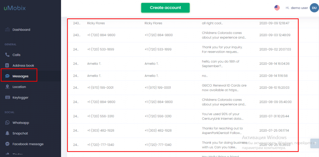 umobix aplicación para espiar SMS