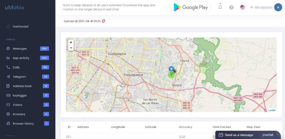 Rastreo de localización por GPS